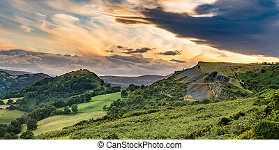Clearing clouds at sunset over Llangollen panorama - Sunset...