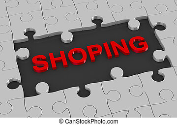 Puzzle and shoping. 3D illustration
