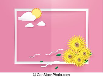 Sunflowers with sun and clouds in white frame on pink background