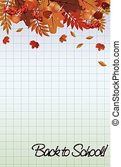 Back to school wallpaper, with a leafs, vector illustration
