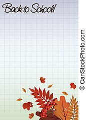 Back to school background with a leafs, vector illustration