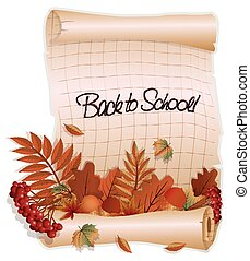 Back to school banner with a leafs, in old style, vector...