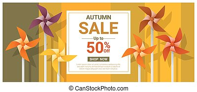 Autumn sale banner with colorful pinwheels 2 - Autumn sale...