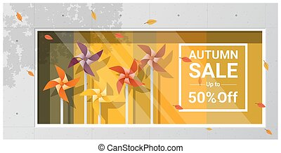 Autumn sale window display with colorful pinwheels...
