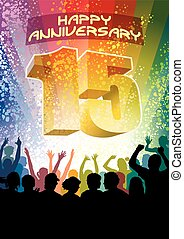 Fifteenth anniversary - Colorful crowd of cheering people...