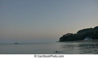 Bay mooring sea bay night night sailing sailboat vacation at...