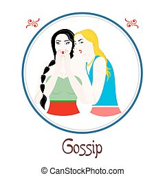 the gossip sin - Illustration with a womans on the theme of...