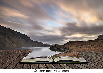 Beautiful landscape image of mountains around Wast Water in...