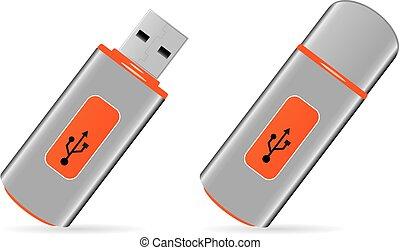 usb pen drive memory - illustration of orange usb pen drive...
