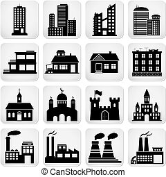 Set of various building icons