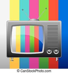 Retro tv on test image background