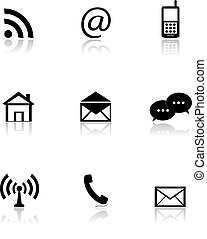 Contact icons set, email signs