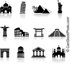 Vector landmarks icons set