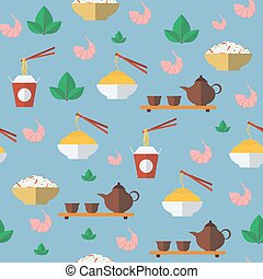 Chinese food. Seamless pattern. Vector illustration.