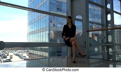 Business woman having break