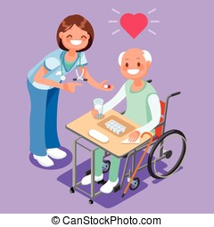 Nurse with Patient in Hospital Isometric People Cartoon...