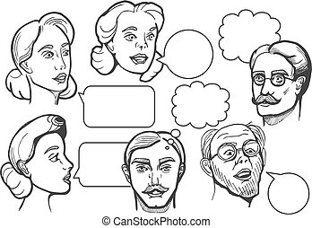 Set of male and female portraits - Vector set of male and...