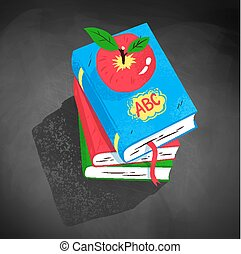 Top view illustration of apple on pile of books
