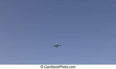 Airliner flying overhead on Ibiza, 4K video