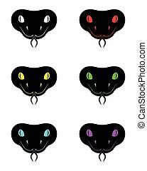 Silhouette of snake head in six colors