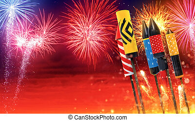 Group of fireworks rockets launching into the sky - Group...