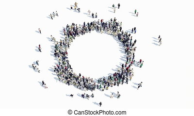 people shape of a cirlce sign - A large group of people in...