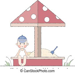 Boy playing in the sandbox - Kids activities - boy playing...