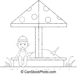 Boy playing in the sandbox outline - Kids activities outline...