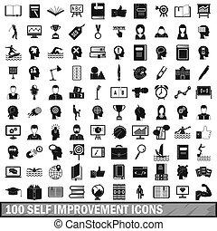 100 self improvement icons set, simple style - 100 self...