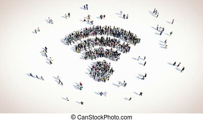 people shape of WiFi sign - A large group of people in...