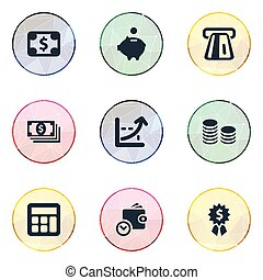 Vector Illustration Set Of Simple Bill Icons. Elements Increase Graph, Terminal, Premium And Other Synonyms Business, Moneybox And Personal.