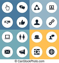 Vector Illustration Set Of Simple Social Media Icons. Elements Chat, Genus, Profile And Other Synonyms Message, Chat And Megaphone.