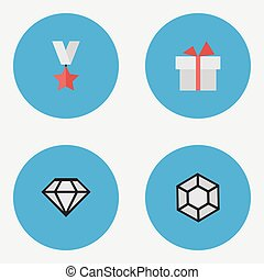 Vector Illustration Set Of Simple Champion Icons. Elements...