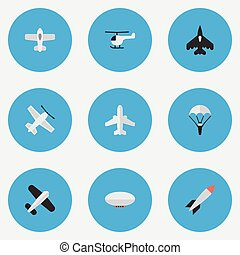 Vector Illustration Set Of Simple Plane Icons. Elements...