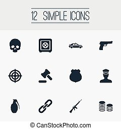 Vector Illustration Set Of Simple Fault Icons. Elements...