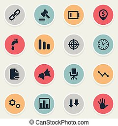 Vector Illustration Set Of Simple Situation Icons. Elements Megaphone, Tribunal, Line Chart And Other Synonyms Sniper, Aiming And Delete.