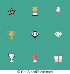 Vector Illustration Set Of Simple Reward Icons. Elements...