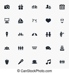 Vector Illustration Set Of Simple Party Icons. Elements...
