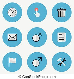 Vector Illustration Set Of Simple Design Icons. Elements Switch Knob, Document, Flag And Other Synonyms Envelope, Settings And Junk.