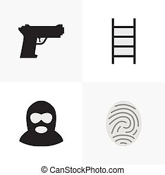 Vector Illustration Set Of Simple Offense Icons. Elements Criminal, Weapon, Stairs And Other Synonyms Bioskyner, Weapon And Protection.
