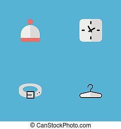 Vector Illustration Set Of Simple Accessories Icons. Elements Time, Clothes Hook, Strap And Other Synonyms Hanger, Wear And Time.