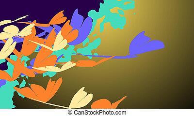 borboletas, voando, romanticos