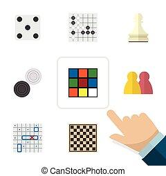 Flat Icon Entertainment Set Of Pawn, Chess Table, Backgammon...