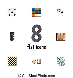 Flat Icon Entertainment Set Of Lottery, Backgammon, Ace And...