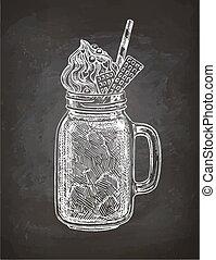 Chalk sketch of milkshake - Milkshake in mason jar. Chalk...