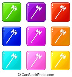 Poleaxe icons 9 set - Poleaxe icons of 9 color set isolated...