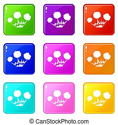 Explosion icons 9 set - Explosion icons of 9 color set...