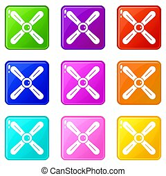 Propeller icons 9 set - Propeller icons of 9 color set...
