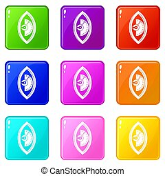 Hand power meter icons 9 set - Hand power meter icons of 9...