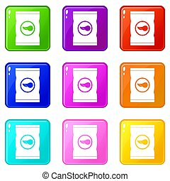 Chips plastic bag icons 9 set - Chips plastic bag icons of 9...